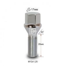 Болт колесный M12X1,25X28 1806-28 Cr Хром Конус с выступом ключ 17 мм (172110 Cr)