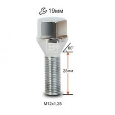 Болт колесный M12X1,25X28 C19B28 Cr Хром Конус с выступом, ключ 19 мм