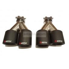 Насадка на глушитель AKRAPOVIC двойная Dвх-60мм, Dвых-2*89мм, Длина-240мм из Карбона/Carbon к-т 2 шт