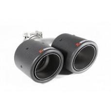 Насадка на глушитель AKRAPOVIC двойная Dвх-60мм, Dвых-2*100мм, Длина-240мм, из Карбона/Carbon к-т 2ш