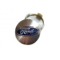 Заглушка ступицы колеса FORD d внешний 54мм, d ножек 50мм серебро+синий (4шт)