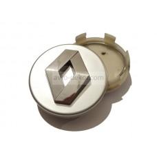 Заглушка ступицы колеса RENAULT d внешний 59,5мм, d ножек 55,6мм серебро+хром (4шт)